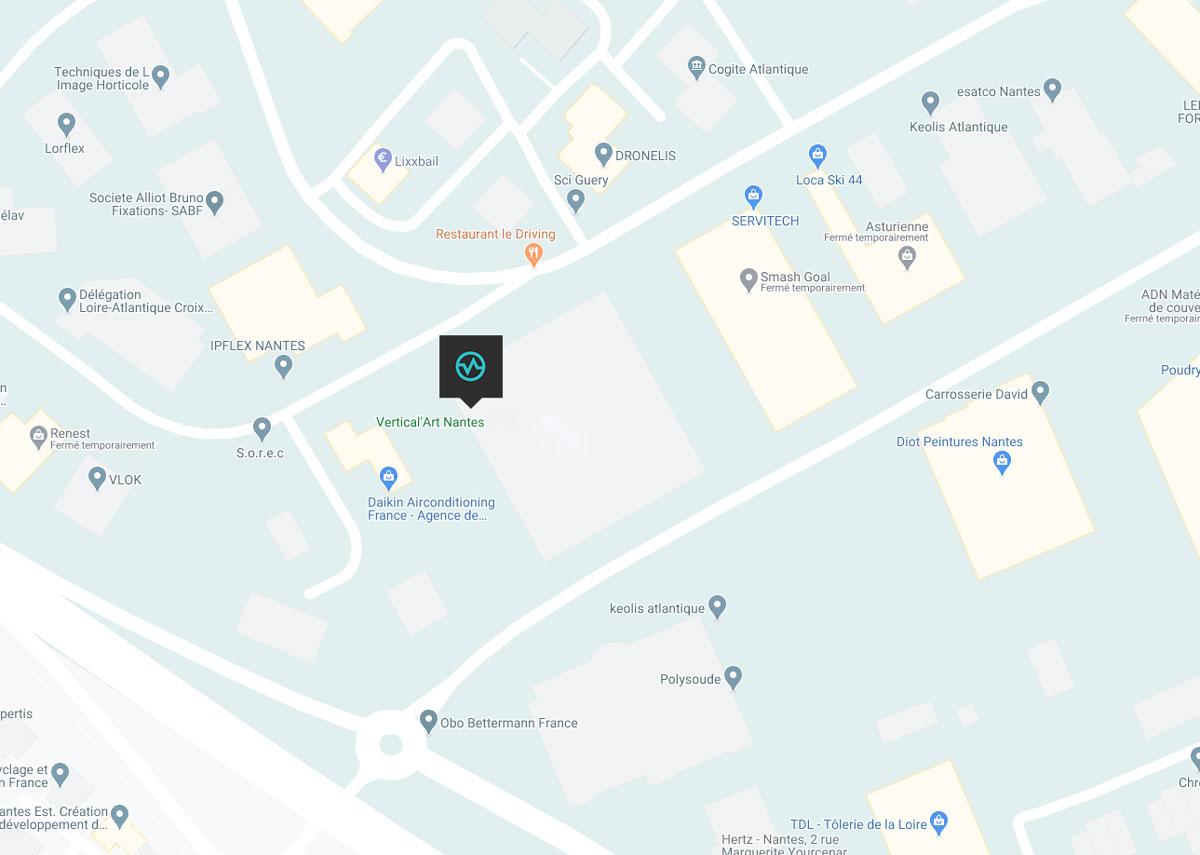 Carte emplacement de la salle de bloc nantes
