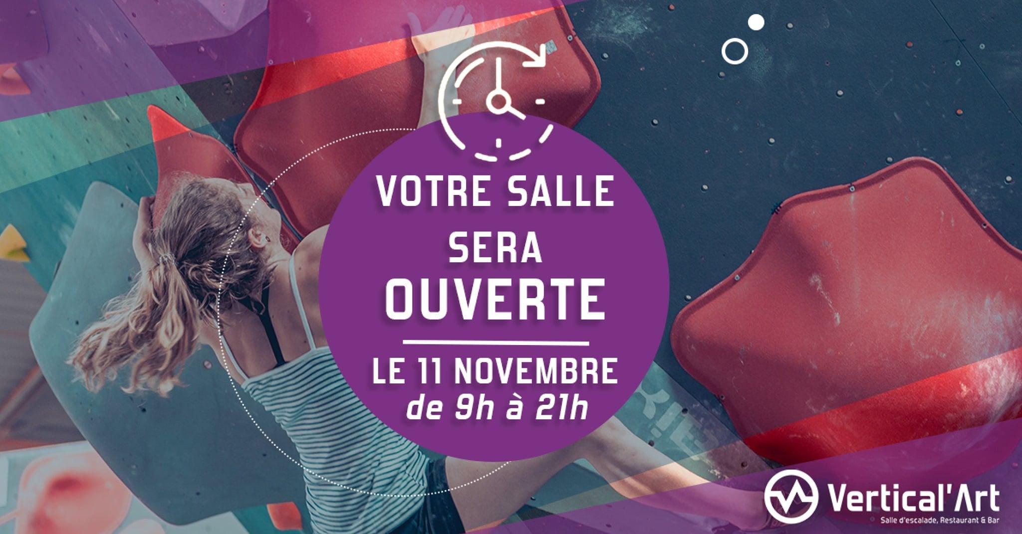 horraire - salle d'escalade de bloc - Vertical'Art Nantes - jour ferier - salle ouverte