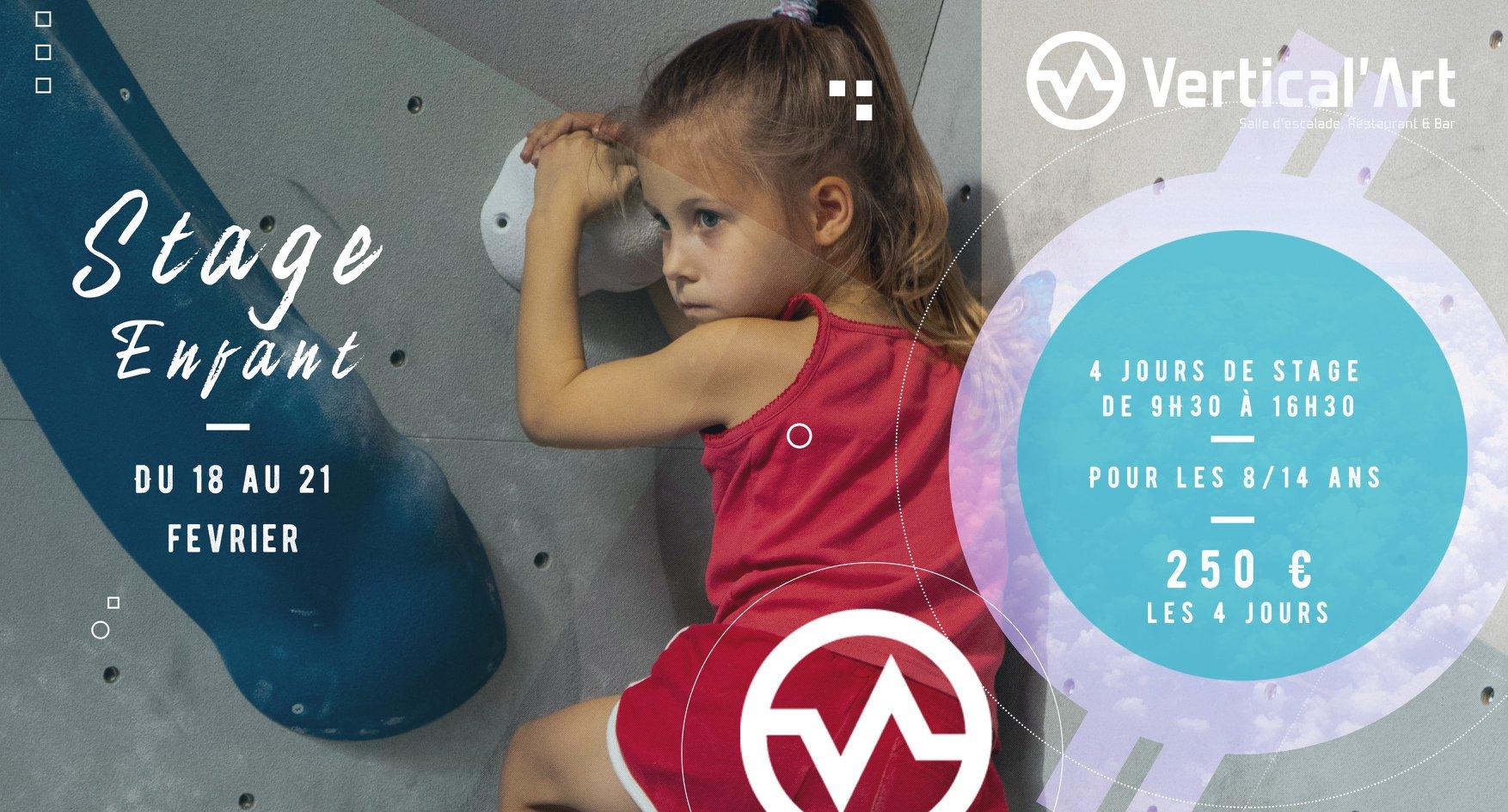 stage enfant à Vertical'Art Nantes - vacances - salle d'escalade restaurant et bar - jeu - grimpe - entrainement - moniteur diplômé -