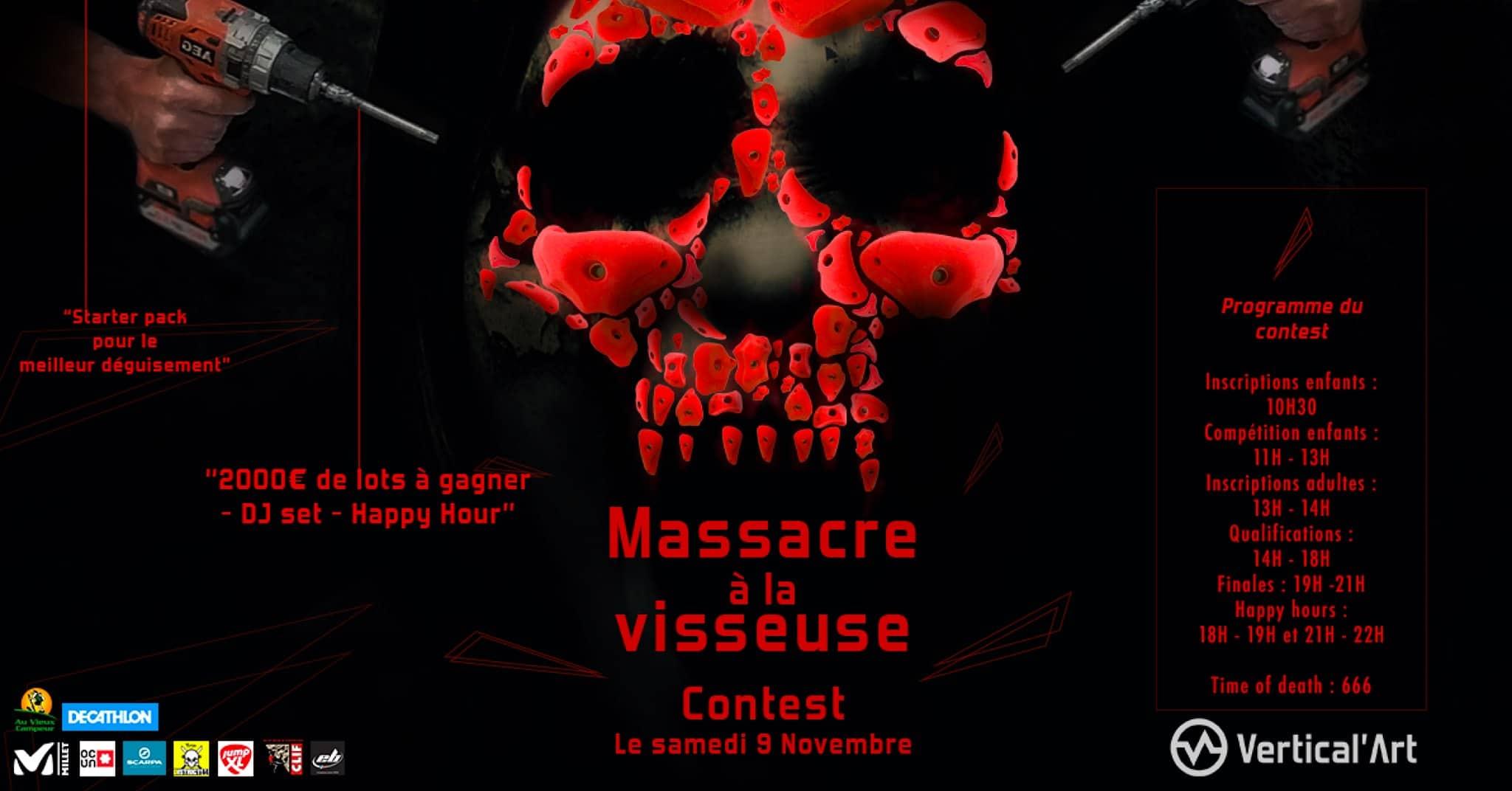 contest massacre à la visseuse à vertical'art Nantes - salle d'escalade de bloc - restaurant et bar -