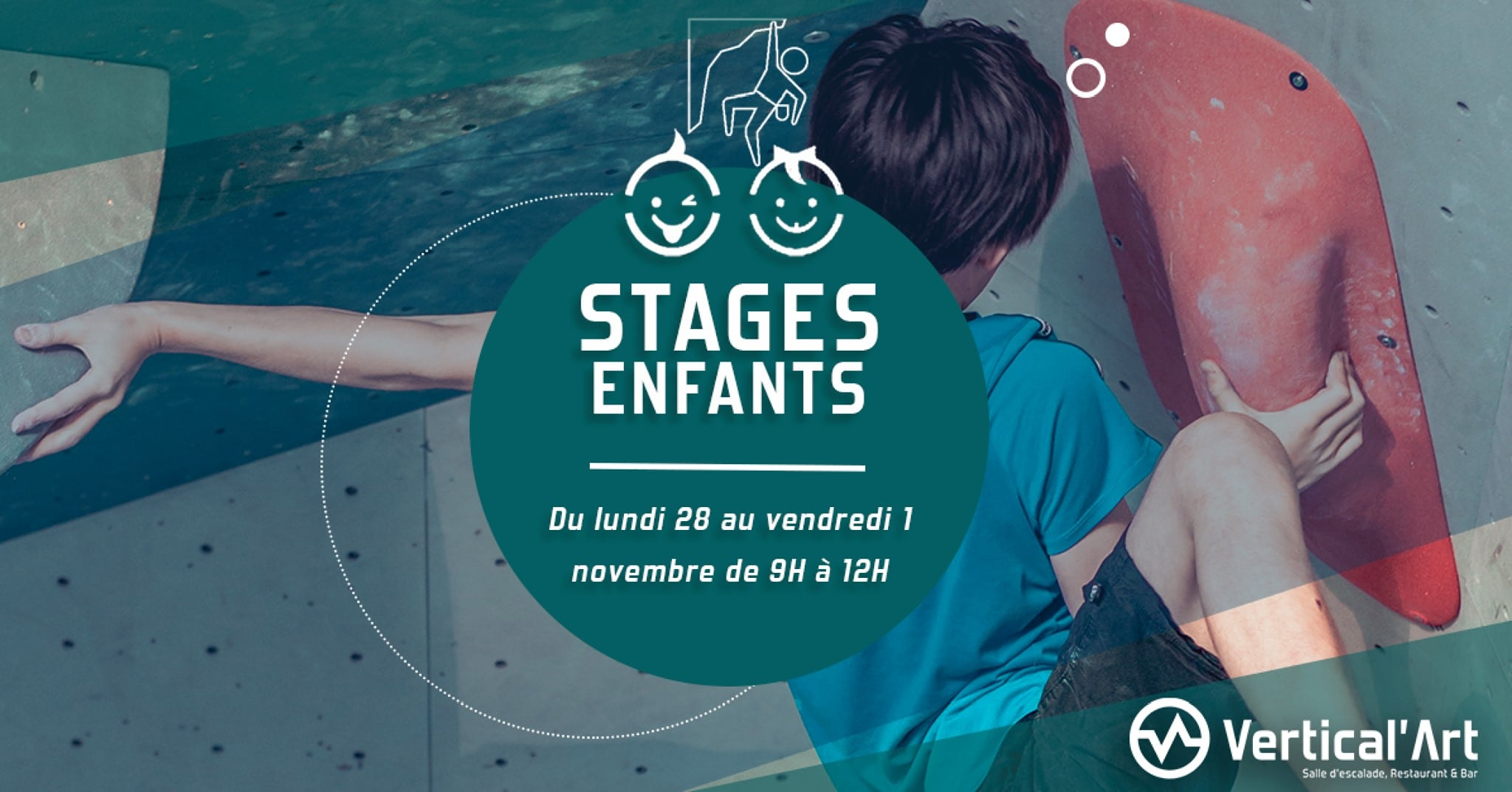 stage enfant à Vertical'Art Nantes - vacances de la Toussaint - salle d'escalade restaurant et bar - jeu - grimpe - entrainement - moniteur diplômé -