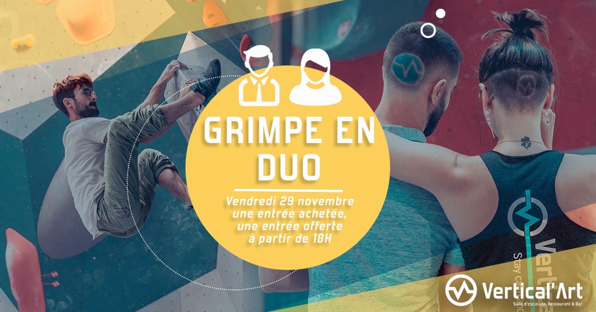 soirée duo à Vertical'Art nantes - salle d'escalade de bloc - bar et restaurant - convivial et familiale à Nantes - Loire Atlantique -