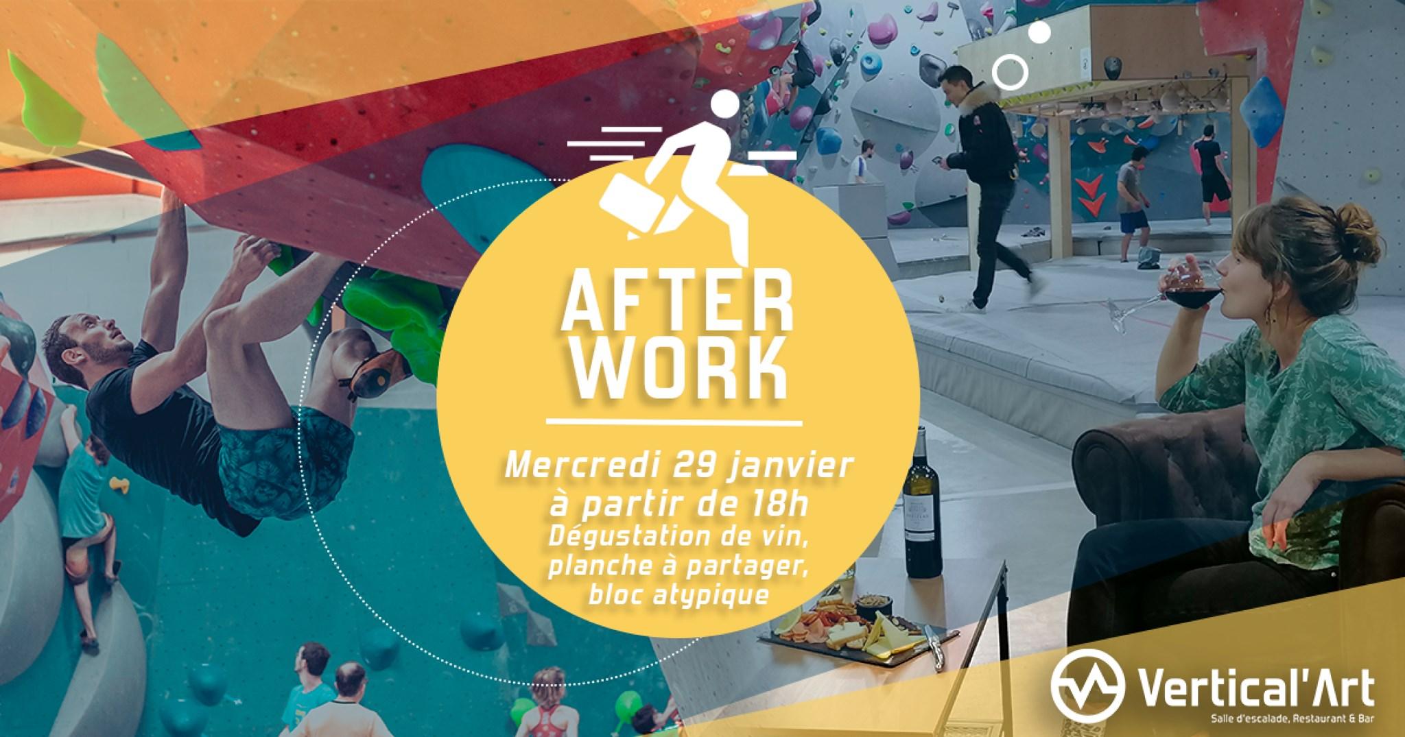 Nantes soirée d'après travaille - After Work - Dégustation vins et charcutries - Vin bio AOP - Vertical'art nantes - restaurant bar à Nantes - Salle d'escalade vertical'art