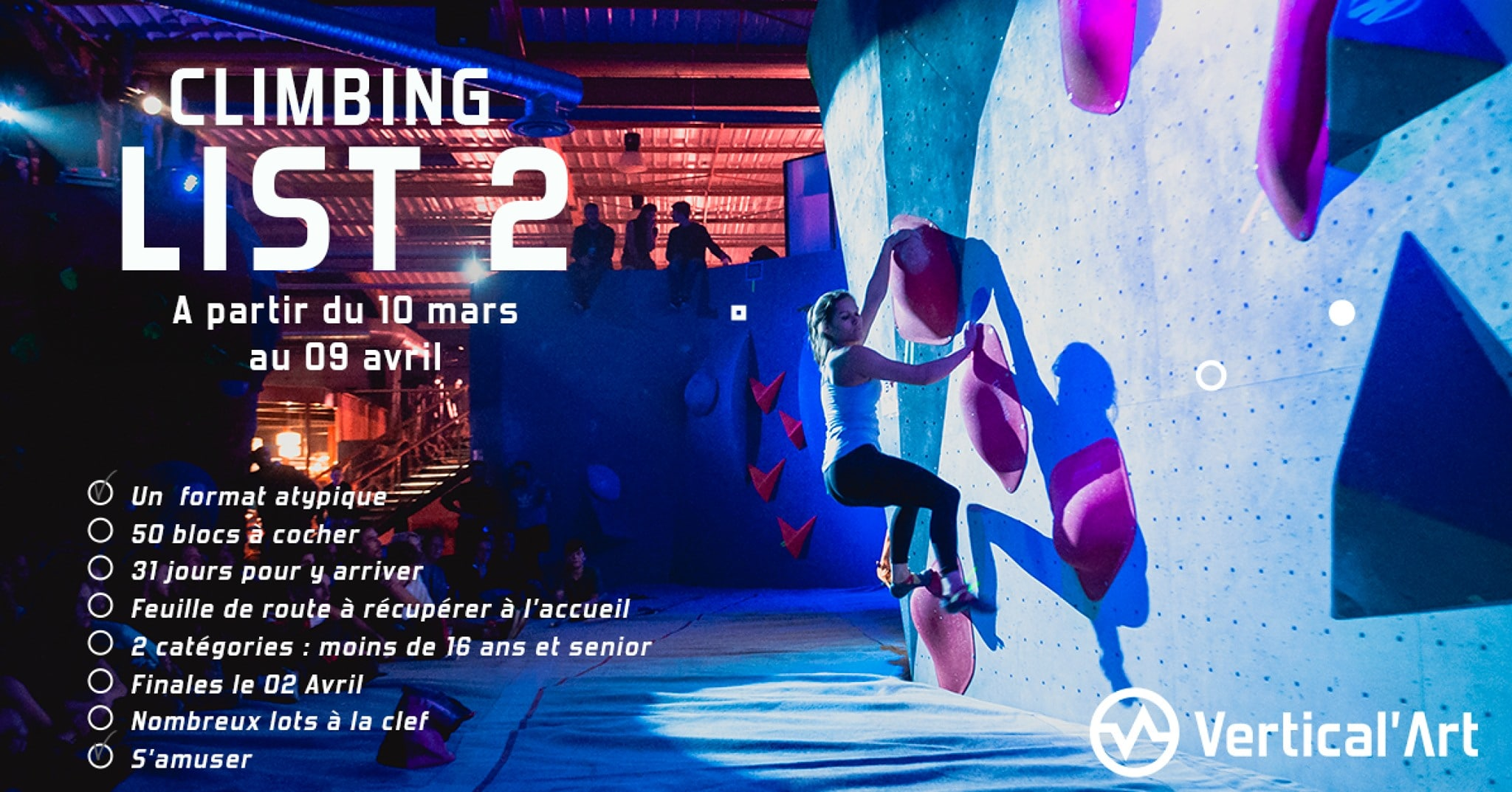 Contest Vertical'Art Nantes - La Climbing List 2- Vertical'Art Nantes - 3 semaines de contest - 50 blocs