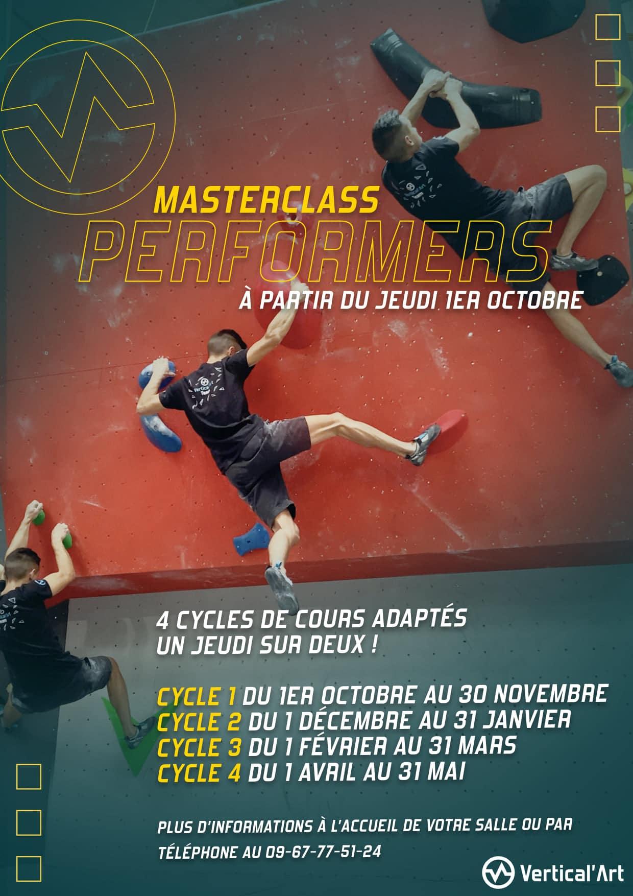 """nouveau format de master class """"performers"""" à Vertical'Art Nantes, pour passer sa grimpe à un niveau supérieur"""