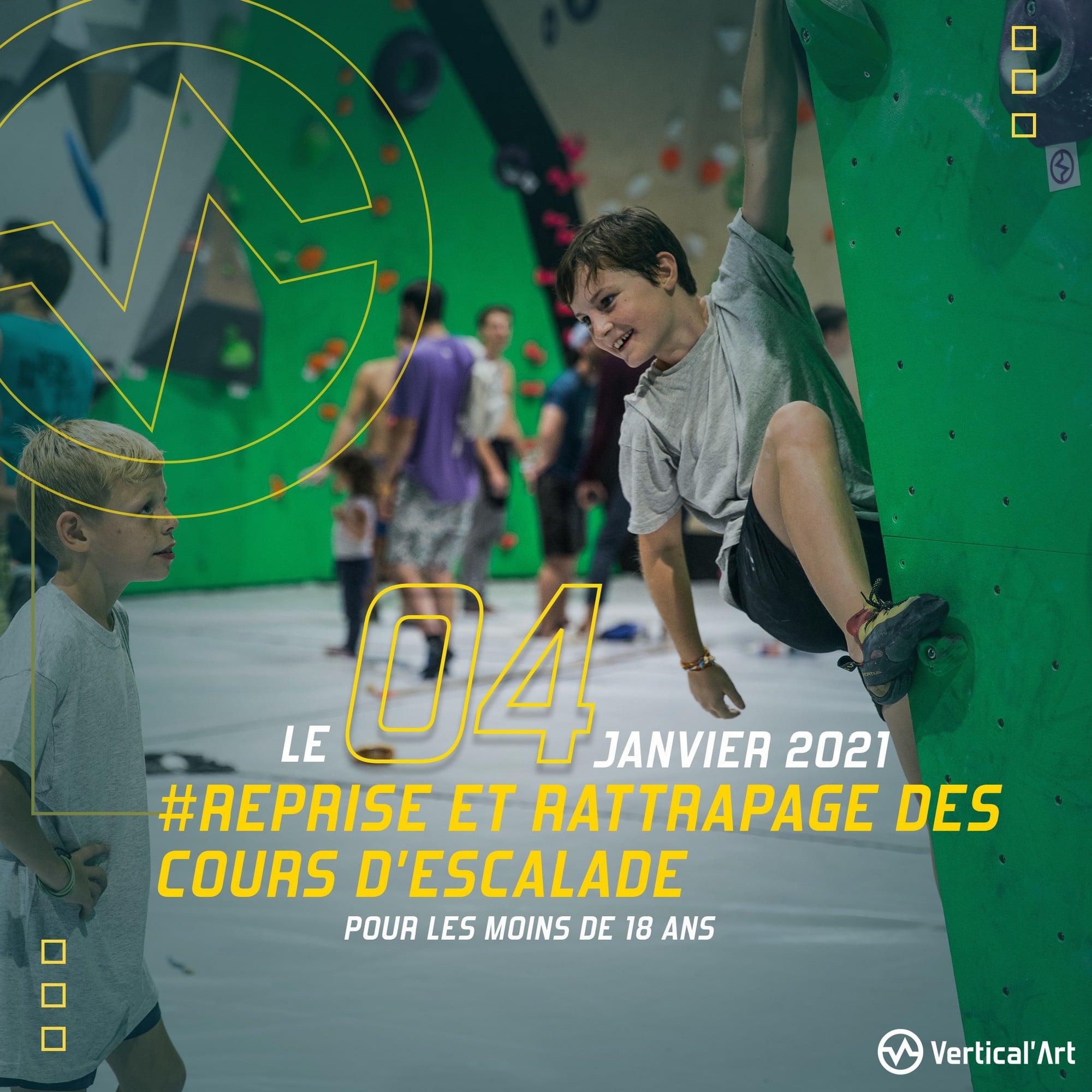 Reprise et rattrapage des cours d'escalade pour les mineurs le 4 janvier à Vertical'Art Nantes