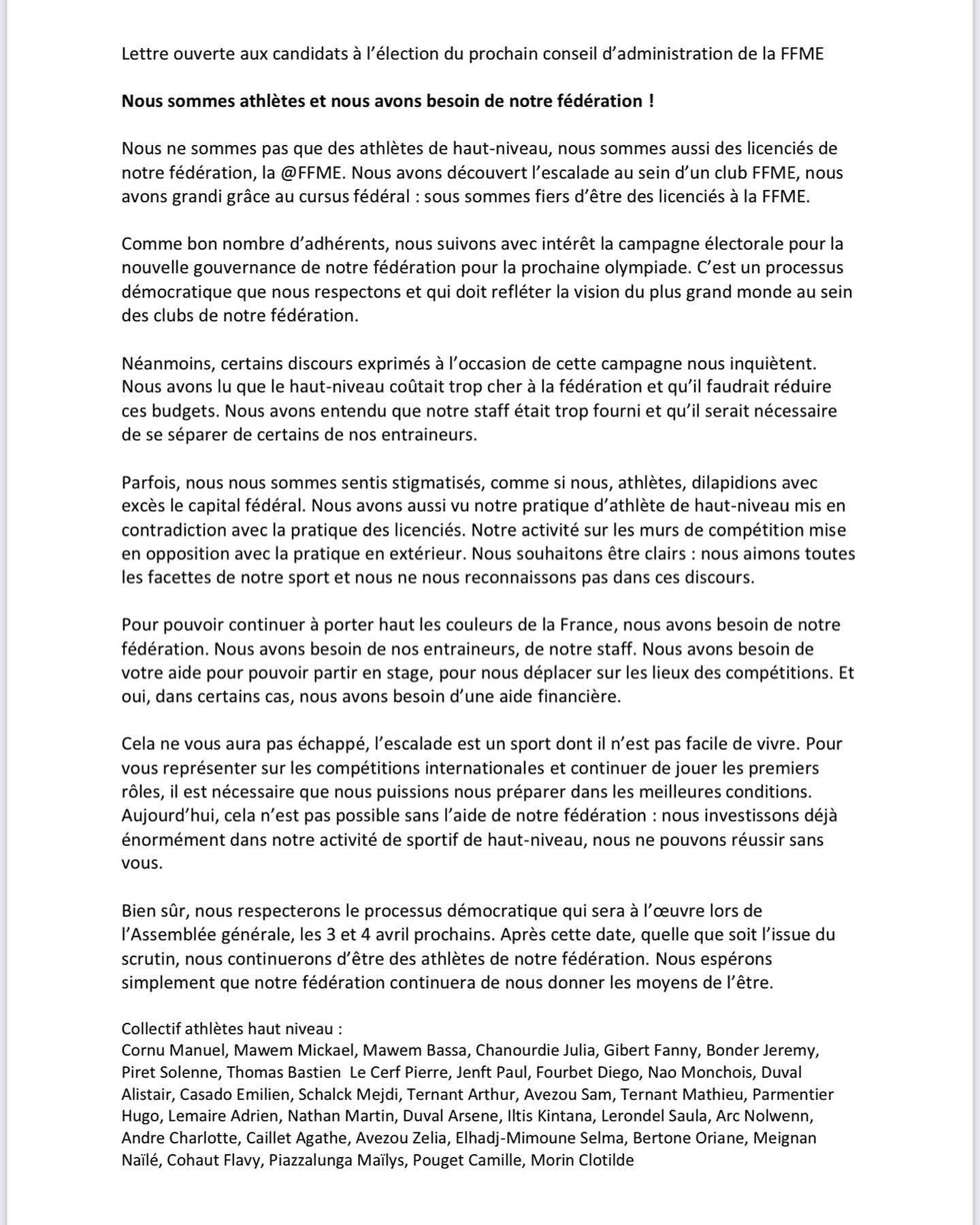 Lettre ouverte de 35 grimpeurs et grimpeuses de haut niveau pour défendre leur statut auprès de la fédération
