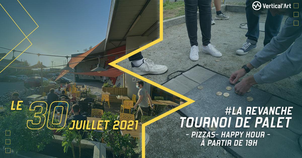 Tournoi de palet : la revanche à Vertical'Art Nantes vendredi 30 juillet 2021, happy hour et pizzas au menu