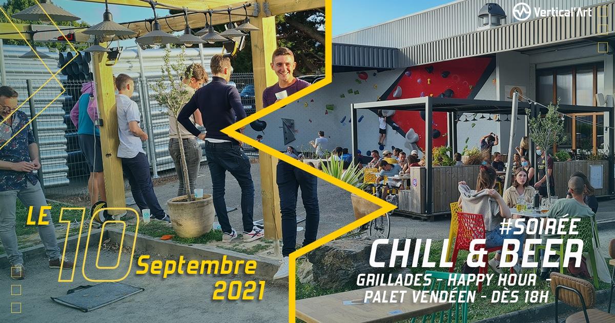 Chill and beer vendredi 10 septembre à Vertical'Art Nantes, grillades, happy hour, palet vendéen, rendez-vous dès 18h