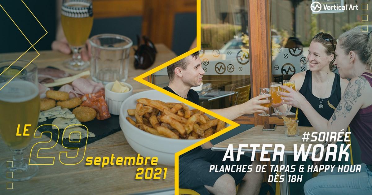 Soirée afterwork mercredi 29 septembre dans votre salle d'escalade Vertical'Art Nantes, planches de tapas et happy hour dès 18h